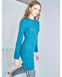 AYIHOLIC CASHMERE Merino Wool One Side Slit Dress Green