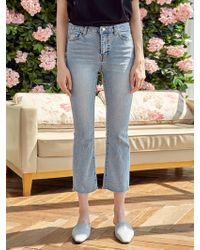 YAN13 Slim Bootcut Cropped Jeans Denim - Blue