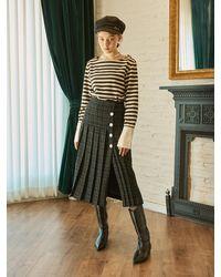 Salon de Yohn Tweed Pleats Skirt - Black