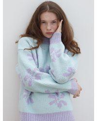 Baby Centaur Jacquard Knit Top (light Blue And Purple)