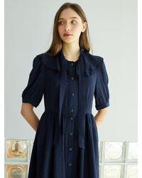 F.COCOROMIZ Big Collar Ribbon Tie Dress (na) - Blue