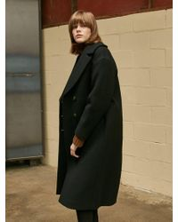COLLABOTORY - Cotton Padding Cocoon Coat Black - Lyst