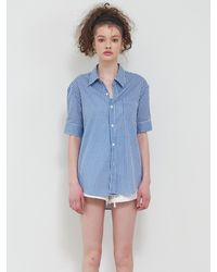 VEMVER Gingham Check Half Sleeves Shirt - Blue