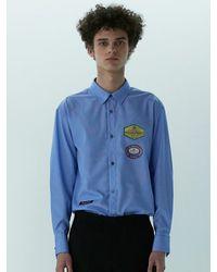 Heich Blade Vintage Graphic Pin Stripe Shirt - Blue