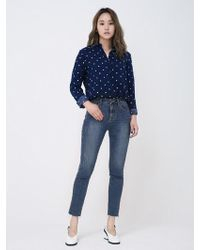 &W STUDIO Coloring Dot Shirts_pink,navy - Blue