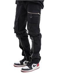 VLADVLADES Black Cargo Bondage Trousers With Seven Zippers