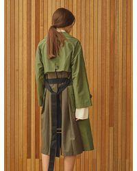 Clue de Clare Color Block Trench Coat - Green