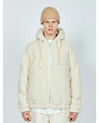 LAYER UNION Sherpa Hooded Jacket - White
