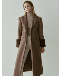 YAN13 Wool Single Long Coat - Multicolour