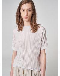 Noirer Pleats Half T-shirt Cream White