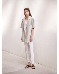 AVA MOLLI [summer Wool] Linen Herringbone Two Buttoned Jacket - Multicolour