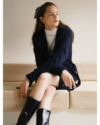 among A Cable Knit Cardigan - Blue