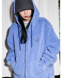 XTONZ Xth001 Primula Pigment-dyed Zip-up Hoodie - Pink