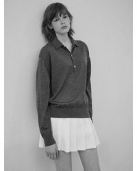 Clove Women S Extrafine Wool Polo - Gray