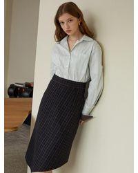 F.COCOROMIZ Unbalanced Check Wool Skirt - Blue