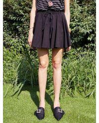 YAN13 - Flare Cotton Culotte Trousers Black - Lyst