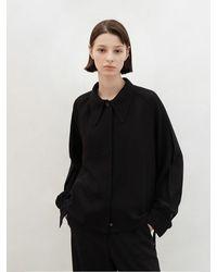 AVA MOLLI Big Collar String Blouse - Black