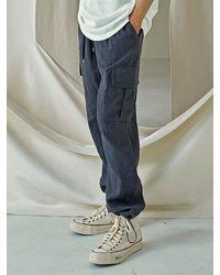 FRIZMWORKS Linen Cargo String Trousers - Grey