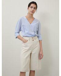 a.t.corner Bermuda Denim Trousers Cream - Blue