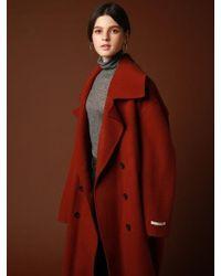 VRUMOUS Handmaade Wool Wide Double Coat Wine - Red