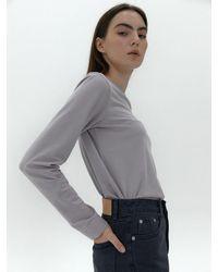 38comeoncommon Essential Long Sleeve T-shirt (fog Light Purple) - Gray