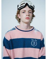 WAIKEI Skiclub Stripe Alpaca Knitwear - Pink