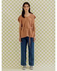 a.t.corner Satin Fluid Sleeveless Blouse () - Brown