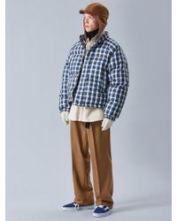 VOIEBIT V638 Duck Down Heavy Oversize Check Padding Sweater - Blue
