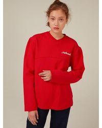 Fleamadonna V-neck Reformation Sweatshirt - Red