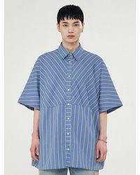 Add Stripe Pattern Half Sleeve Shirt Blue