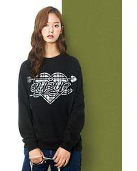 W Concept - Heart Check Patch Sweatshirt Black - Lyst