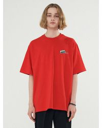 Add Double Logo Back Slit Tee - Red
