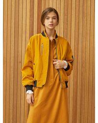 Clue de Clare Stripe Reversible Ma-1 Jacket - Yellow