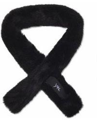 YAN13 [unisex] Petit Mink Muffler Black