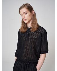 Noirer Lace Piquet Polo T-shirt Black
