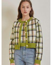 among A Check Jacquard Knit Set Green