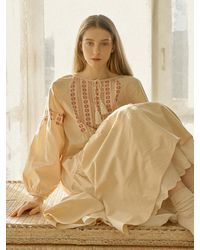 ULLALA PAJAMAS Raven Long Sleeve Dress + Ogarden Slip Dress Set - Natural