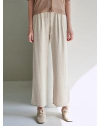 YAN13 Pintuck Wide Linen Trousers - Natural