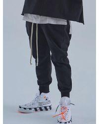 MIGNONNEUF Long String Baggy Jogger Pants Black
