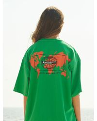 ANOUTFIT Overfit Earth Artwork T-shirt - Green