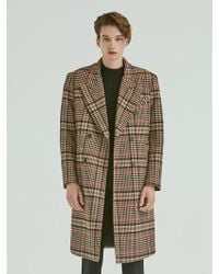 Add - Check Double Long Coat Brown - Lyst