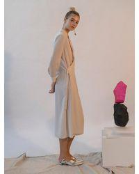 Emin & Paul Long Sleeve Asymmetrical Button Dress - Natural