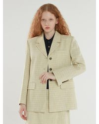 a.t.corner [limited] Eco Cotton Tweed Single Jacket - Yellow