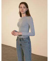 YAN13 Skinny Round Long T-shirt Sky Blue