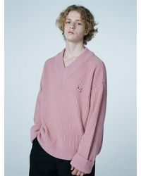 WAIKEI Dolphin Lams Wool V-neck Knit Pink