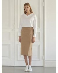 NILBY P Cotton H-line Skirt [be] - Natural