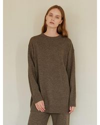 among A Melange Knit Top - Brown