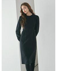 YAN13 Pintuck Waist Long Dress - Black