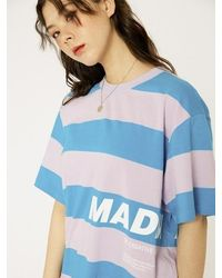 MADMARS [unisex] Oversize Stripe T-shirts - Purple