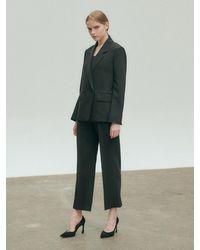 NILBY P One Tuck Straight Leg Trousers - Black